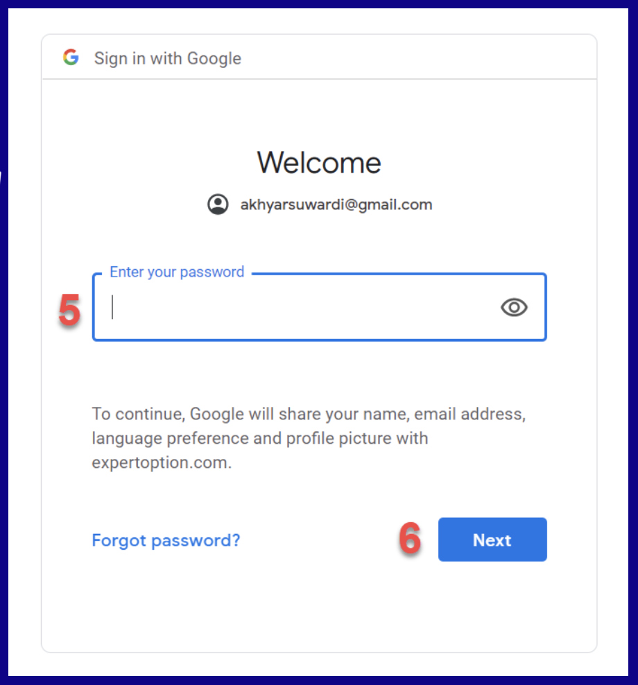 Enter the password from your Gmail account