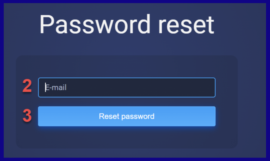 Reset ExpertOption password form