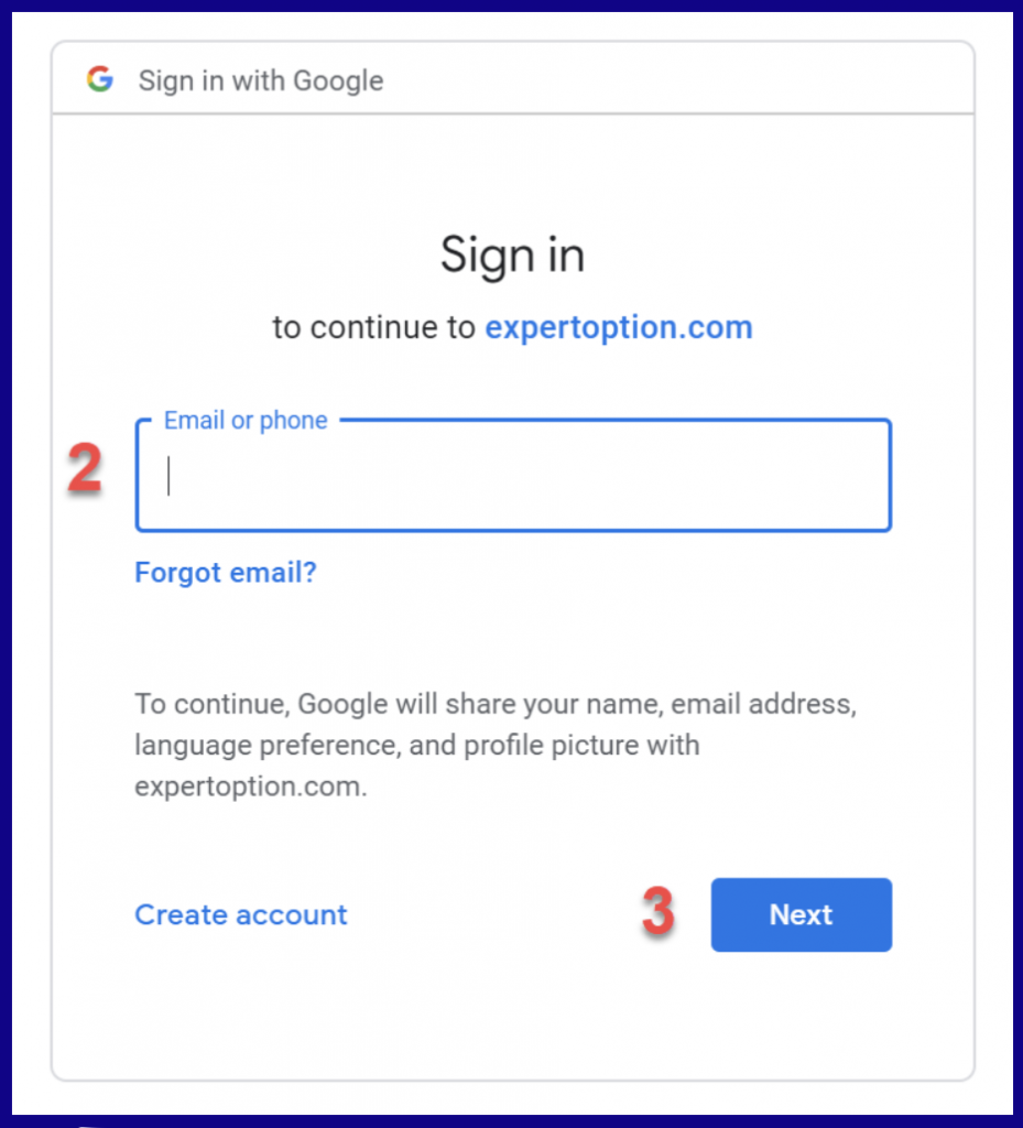 Gmail account sign in ExpertOption
