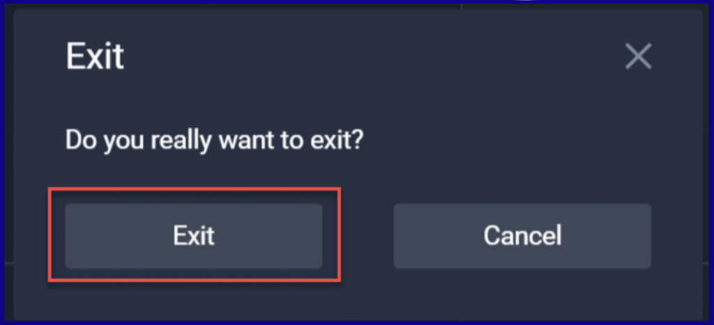 Exit from ExpertOption Demo account