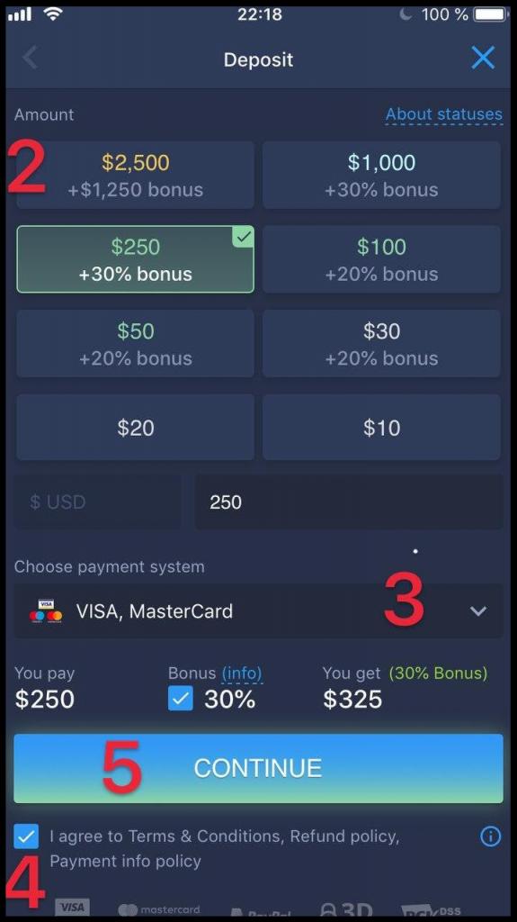 Choose the deposit method for EO Broker
