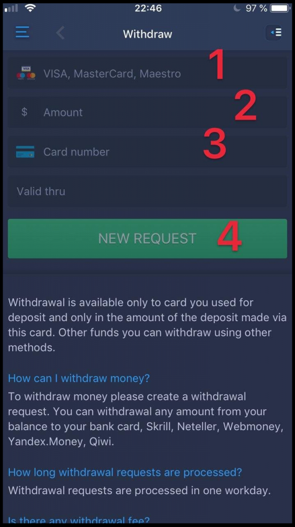 How to withdraw funds from EO Broker?