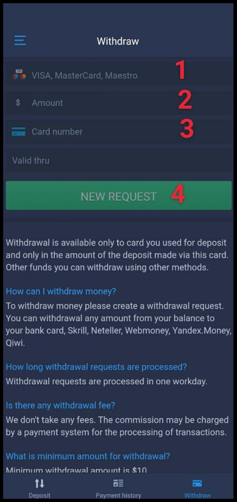 How to withdraw funds from ExpertOption android app