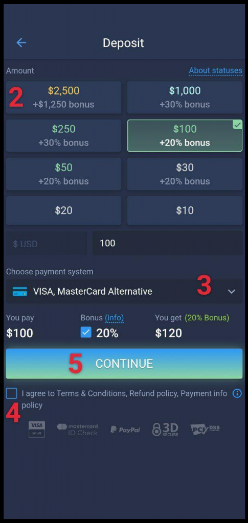 ExpertOption android app deposit page