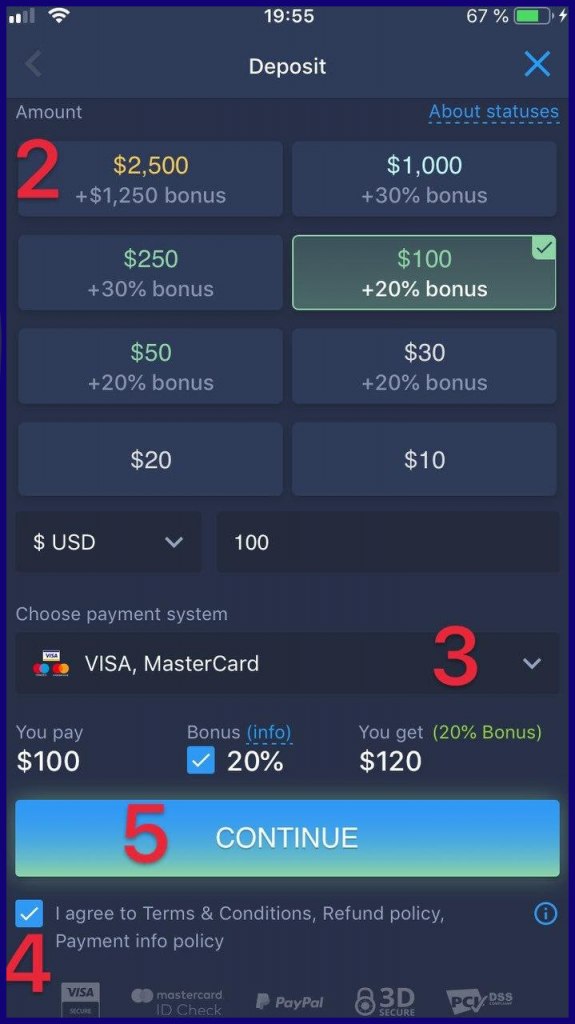 Deposit amount on ExpertOption ios app