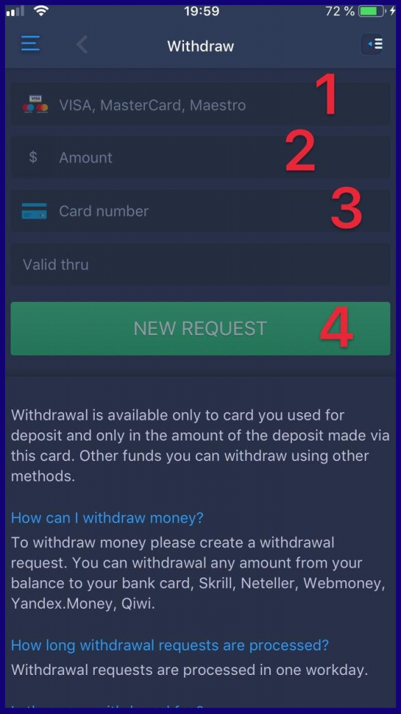 How to withdraw funds from ExpertOption iOS app